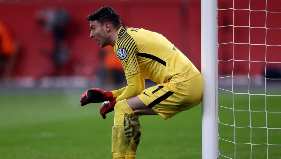 LEVERKUSEN, GERMANY - FEBRUARY 06: Jiri Pavlenka, goalkeeper of Bremen gestures during the DFB Cup quarter final match between Bayer Leverkusen and Werder Bremen at BayArena on February 6, 2018 in Leverkusen, Germany. (Photo by Alex Grimm/Bongarts/Getty Images)