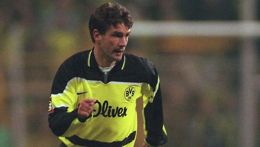 GERMANY - NOVEMBER 18:  FUSSBALL: 1.BUNDESLIGA 97/98 BORUSSIA DORTMUND 18.11.97, Michael ZORC - Einzelaktion -  (Photo by Bongarts/Getty Images)