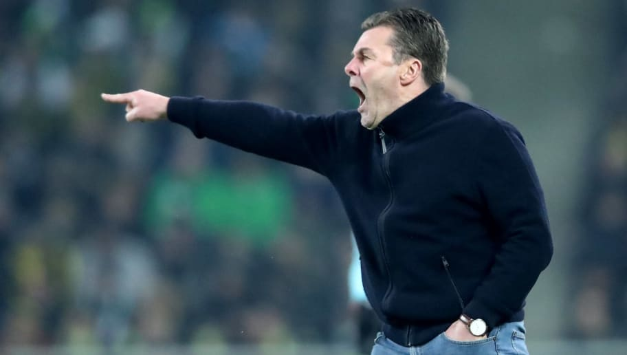 MOENCHENGLADBACH, GERMANY - FEBRUARY 18: Head coach Dieter Hecking of Moenchengladbach reacts during to the Bundesliga match between Borussia Moenchengladbach and Borussia Dortmund at Borussia-Park on February 18, 2018 in Moenchengladbach, Germany. (Photo by Christof Koepsel/Bongarts/Getty Images)