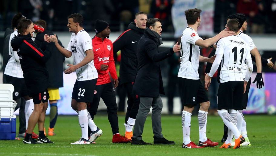 FRANKFURT AM MAIN, GERMANY - FEBRUARY 19:  Niko Kovac (C), head coach of Frankfurt celebrate victory with his team over Leipzig after Bundesliga match between Eintracht Frankfurt and RB Leipzig at Commerzbank-Arena on February 19, 2018 in Frankfurt am Main, Germany.  (Photo by Alex Grimm/Bongarts/Getty Images)