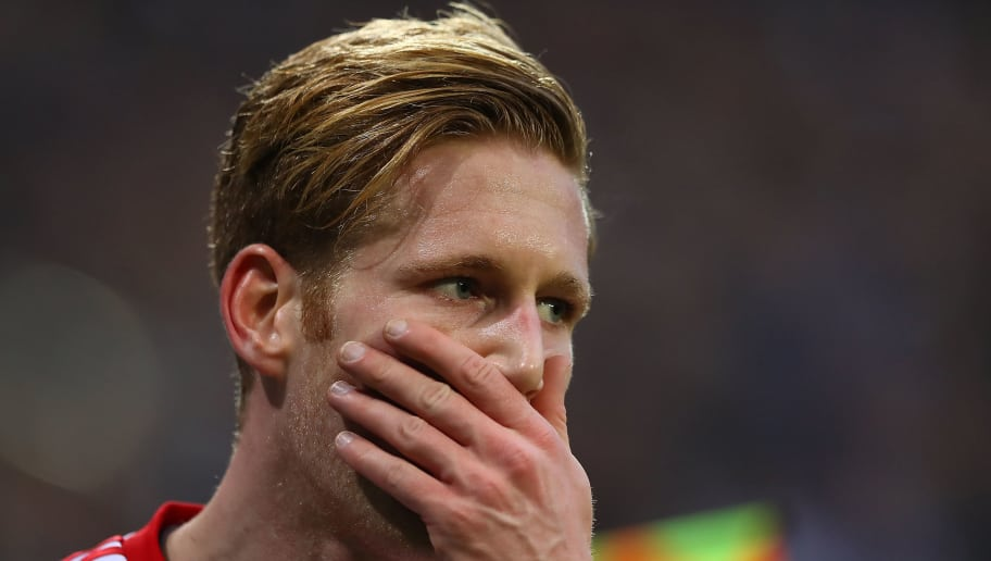 HAMBURG, GERMANY - FEBRUARY 17: Andre Hahn of Hamburg reacts during the Bundesliga match between Hamburger SV and Bayer 04 Leverkusen at Volksparkstadion on February 17, 2018 in Hamburg, Germany. (Photo by Martin Rose/Bongarts/Getty Images)