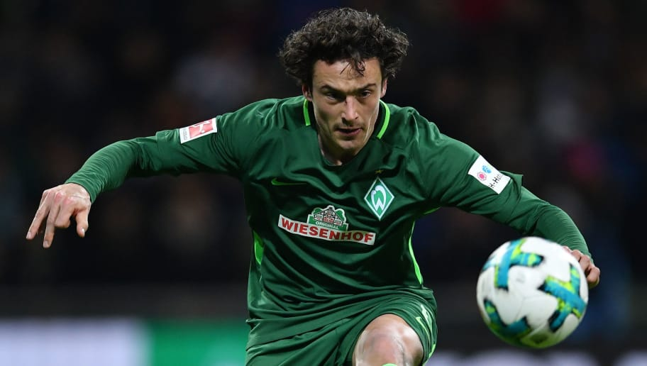 BREMEN, GERMANY - FEBRUARY 11:  Thomas Delaney of Bremen in action during the Bundesliga match between SV Werder Bremen and VfL Wolfsburg at Weserstadion on February 11, 2018 in Bremen, Germany.  (Photo by Stuart Franklin/Bongarts/Getty Images)