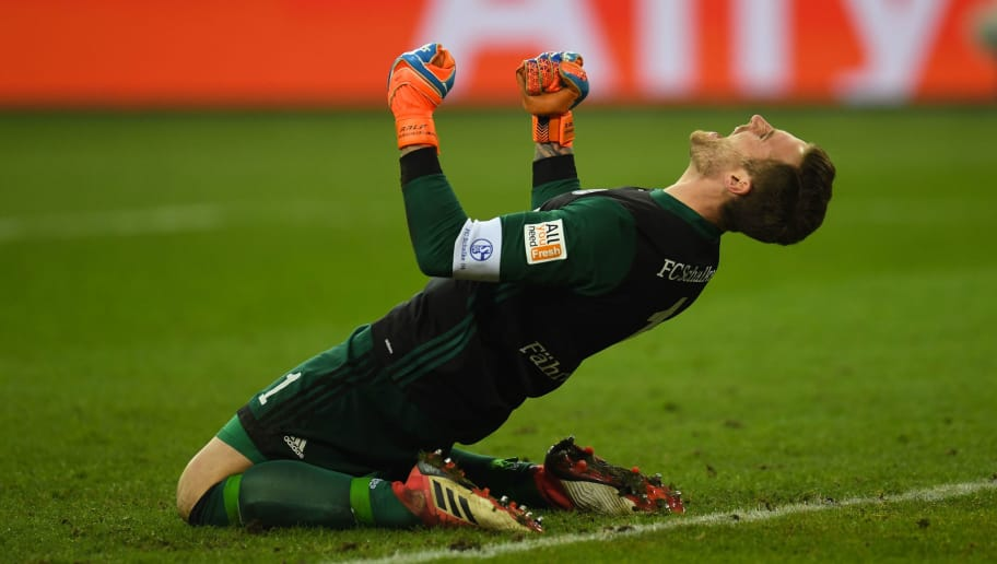 Schalke's German goalkeeper Ralf Faehrmann reacts after the German first division Bundesliga football match FC Schalke 04 vs Hoffenheim, in Gelsenkirchen, western Germany, on February 17, 2018. / AFP PHOTO / Patrik STOLLARZ / RESTRICTIONS: DURING MATCH TIME: DFL RULES TO LIMIT THE ONLINE USAGE TO 15 PICTURES PER MATCH AND FORBID IMAGE SEQUENCES TO SIMULATE VIDEO. == RESTRICTED TO EDITORIAL USE == FOR FURTHER QUERIES PLEASE CONTACT DFL DIRECTLY AT + 49 69 650050         (Photo credit should read PATRIK STOLLARZ/AFP/Getty Images)