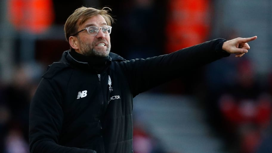 Liverpool's German manager Jurgen Klopp gestures from the touchline during the English Premier League football match between Southampton and Liverpool at St Mary's Stadium in Southampton, southern England on February 11, 2018. / AFP PHOTO / Adrian DENNIS / RESTRICTED TO EDITORIAL USE. No use with unauthorized audio, video, data, fixture lists, club/league logos or 'live' services. Online in-match use limited to 75 images, no video emulation. No use in betting, games or single club/league/player publications.  /         (Photo credit should read ADRIAN DENNIS/AFP/Getty Images)