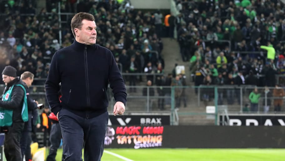 MOENCHENGLADBACH, GERMANY - FEBRUARY 03: Dieter Hecking, coach of Moenchengladbach, walks before the Bundesliga match between Borussia Moenchengladbach and RB Leipzig at Borussia-Park on February 3, 2018 in Moenchengladbach, Germany. (Photo by Christof Koepsel/Bongarts/Getty Images)