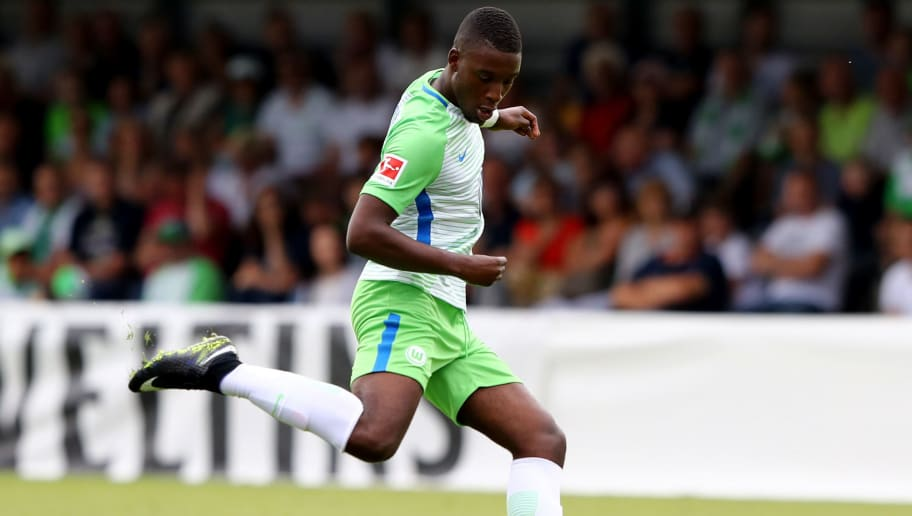 GIFHORN, GERMANY - JULY 08:  Riechedly Bazoer of Wolfsburg runs with the ball during the preseason friendly match between Gifhorner SV and VfL Wolfsburg at GWG Stadium on July 8, 2017 in Gifhorn, Germany.  (Photo by Martin Rose/Bongarts/Getty Images)