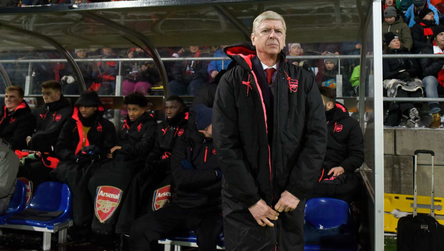 Arsenal's manager Arsene Wenger is pictured during the UEFA Europa League round of 32, first leg football match of Ostersund FK vs Arsenal FC on February 15, 2018 in Ostersund, Sweden. / AFP PHOTO / TT NEWS AGENCY / Robert HENRIKSSON / Sweden OUT        (Photo credit should read ROBERT HENRIKSSON/AFP/Getty Images)