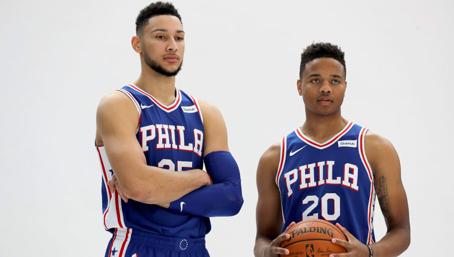 CAMDEN, NJ - SEPTEMBER 25:  Ben Simmons #25 and Markelle Fultz #20 of the Philadelphia 76ers pose for a photo together during Philadelphia 76ers Media Day on September 25, 2017 at the Philadelphia 76ers Training Complex in Camden, New Jersey.NOTE TO USER: User expressly acknowledges and agrees that, by downloading and/or using this photograph, user is consenting to the terms and conditions of the Getty Images License Agreement.  (Photo by Abbie Parr/Getty Images)