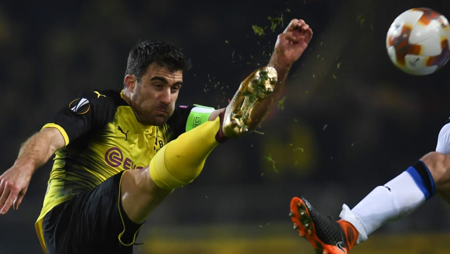 Dortmund's Greek defender Sokratis plays the ball during the UEFA Europa League round of 32, first leg football match of Germany's Borussia Dortmund vs Italy's Atalanta Bergamo on February 15, 2018 in Dortmund, western Germany. / AFP PHOTO / PATRIK STOLLARZ        (Photo credit should read PATRIK STOLLARZ/AFP/Getty Images)