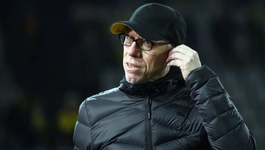 DORTMUND, GERMANY - FEBRUARY 15: Head coach Peter Stoeger dooo looks on prior to UEFA Europa League Round of 32 match between Borussia Dortmund and Atalanta Bergamo at the Signal Iduna Park on February 15, 2018 in Dortmund, Germany.  (Photo by Alex Grimm/Bongarts/Getty Images)