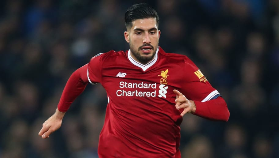 LIVERPOOL, ENGLAND - JANUARY 01:  Emre Can of Liverpool in action during the Premier League match between Everton and Manchester United at Goodison Park on January 1, 2018 in Liverpool, England.  (Photo by Clive Brunskill/Getty Images)