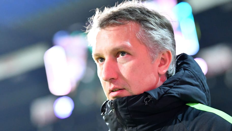 BREMEN, GERMANY - FEBRUARY 11:  Frank Baumann, sports director of Bremen looks on during the Bundesliga match between SV Werder Bremen and VfL Wolfsburg at Weserstadion on February 11, 2018 in Bremen, Germany.  (Photo by Stuart Franklin/Bongarts/Getty Images)