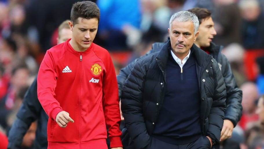 MANCHESTER, ENGLAND - OCTOBER 02:  Ander Herrera of Manchester United (L) speaks to Jose Mourinho, Manager of Manchester United (R) after the final whistle during the Premier League match between Manchester United and Stoke City at Old Trafford on October 2, 2016 in Manchester, England.  (Photo by Richard Heathcote/Getty Images)