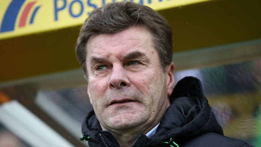MOENCHENGLADBACH, GERMANY - JANUARY 20: Dieter Hecking, coach of Moenchengladbach, looks on before the Bundesliga match between Borussia Moenchengladbach and FC Augsburg at Borussia-Park on January 20, 2018 in Moenchengladbach, Germany. (Photo by Maja Hitij/Bongarts/Getty Images)