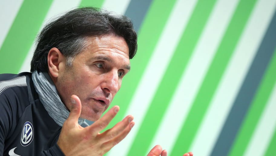 WOLFSBURG, GERMANY - FEBRUARY 20:  Bruno Labbadia, new head coach of VfL Wolfsburg, speaks to the media at Volkswagen Arena on February 20, 2018 in Wolfsburg, Germany. (Photo by Ronny Hartmann/Bongarts/Getty Images)