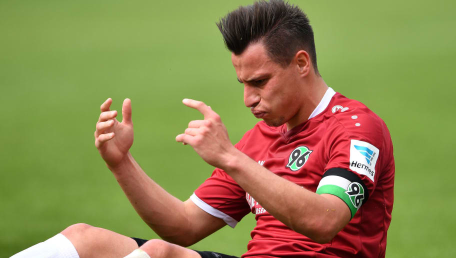 HANOVER, GERMANY - MAY 14:  Edgar Prib of Hannover reacts during the Second Bundesliga match between Hannover 96 and VfB Stuttgart at HDI-Arena on May 14, 2017 in Hanover, Germany.  (Photo by Stuart Franklin/Bongarts/Getty Images)