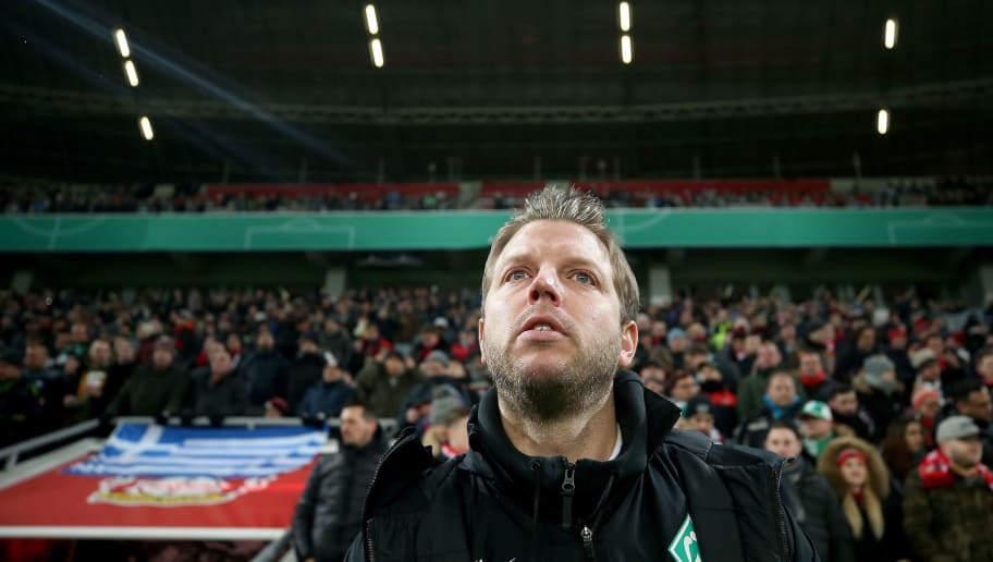 LEVERKUSEN, GERMANY - FEBRUARY 06:  Florian Kohfeldt, head coach of Bremen looks on before the DFB Cup quarter final match between Bayer Leverkusen and Werder Bremen at BayArena on February 6, 2018 in Leverkusen, Germany.  (Photo by Alex Grimm/Bongarts/Getty Images)