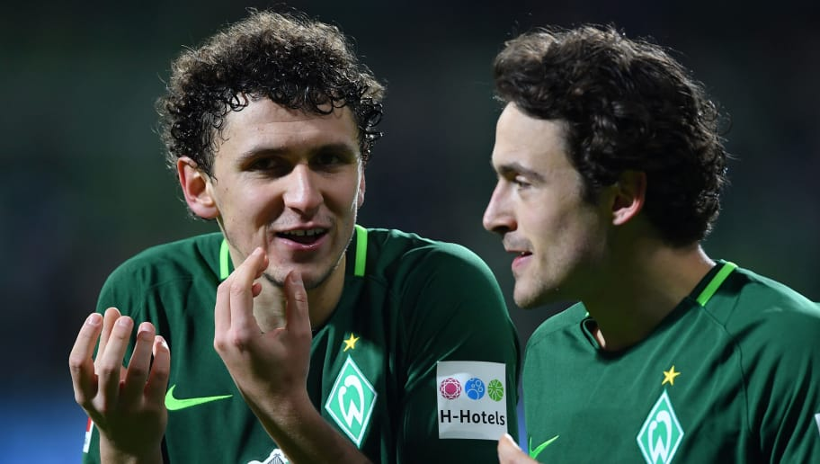 BREMEN, GERMANY - FEBRUARY 11:  Milos Veljkovic and Thomas Delaney of Bremen celebrate after the Bundesliga match between SV Werder Bremen and VfL Wolfsburg at Weserstadion on February 11, 2018 in Bremen, Germany.  (Photo by Stuart Franklin/Bongarts/Getty Images)