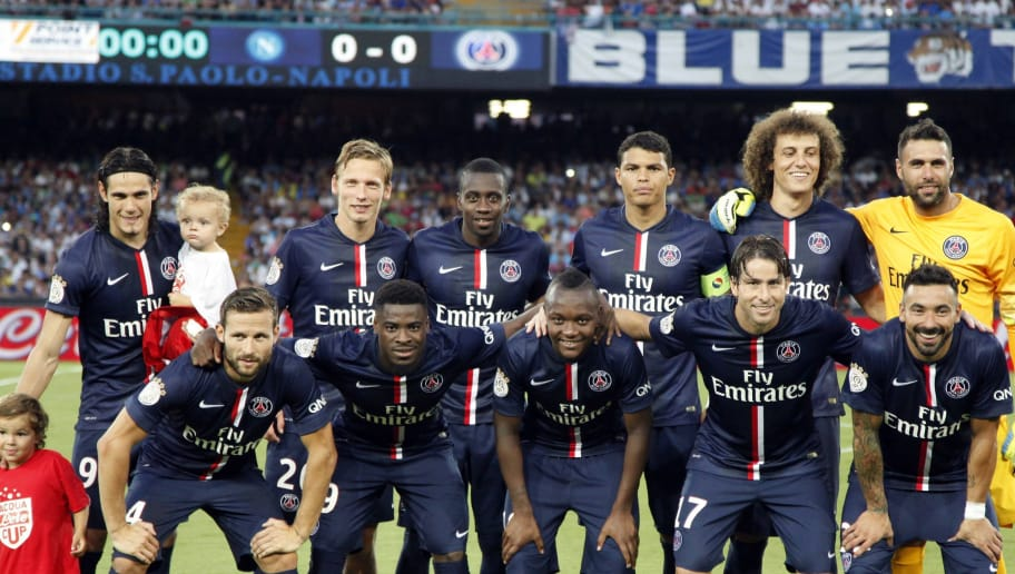 (LtoR - From top) Paris Saint-Germain's Uruguayan forward Edinson Cavani, French midfielder Clement Chantome, French midfielder Blaise Matuidi, Brazilian defender Thiago Silva, Brazilian defender David Luiz, Italian goalkeeper Salvatore Sirigu, French midfielder Yohan Cabaye, Ivorian defender Serge Aurier, French forward Hervin Ongenda, Brazilian defender Maxwell, and Argentinian forward Ezequiel Lavezzi pose before the friendly football match between SSC Napoli and Paris Saint-Germain FC as part of the 2014 Acqua Lete Cup, on August 11, 2014 at the San Paolo Stadium, in Naples. Paris won 2-1. AFP PHOTO / CARLO HERMANN        (Photo credit should read CARLO HERMANN/AFP/Getty Images)