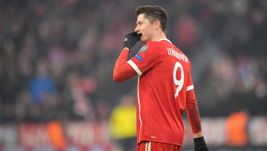 MUNICH, GERMANY - FEBRUARY 20: Robert Lewandowski of Bayern Muenchen looks on during the UEFA Champions League Round of 16 First Leg match between Bayern Muenchen and Besiktas at Allianz Arena on February 20, 2018 in Munich, Germany. (Photo by Sebastian Widmann/Bongarts/Getty Images)