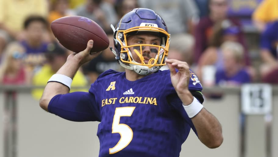 GREENVILLE, NC - SEPTEMBER 16: Quarterback Gardner Minshew #5 of the East Carolina Pirates throws a pass against the Virginia Tech Hokies in the first half at Dowdy-Ficklen Stadium on September 16, 2017 in Greenville, North Carolina. (Photo by Michael Shroyer/Getty Images)
