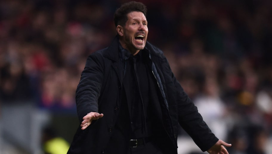 MADRID, SPAIN - FEBRUARY 22: Manager, Diego Simeone of Atletico de Madrid reacts during UEFA Europa League Round of 32 match between Atletico Madrid and FC Copenhagen at the Wanda Metropolitano on February 22, 2018 in Madrid, Spain. (Photo by Denis Doyle/Getty Images)