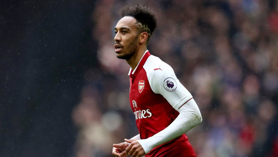 LONDON, ENGLAND - FEBRUARY 10: Pierre-Emerick Aubameyang of Arsenal during the Premier League match between Tottenham Hotspur and Arsenal at Wembley Stadium on February 10, 2018 in London, England. (Photo by Catherine Ivill/Getty Images)