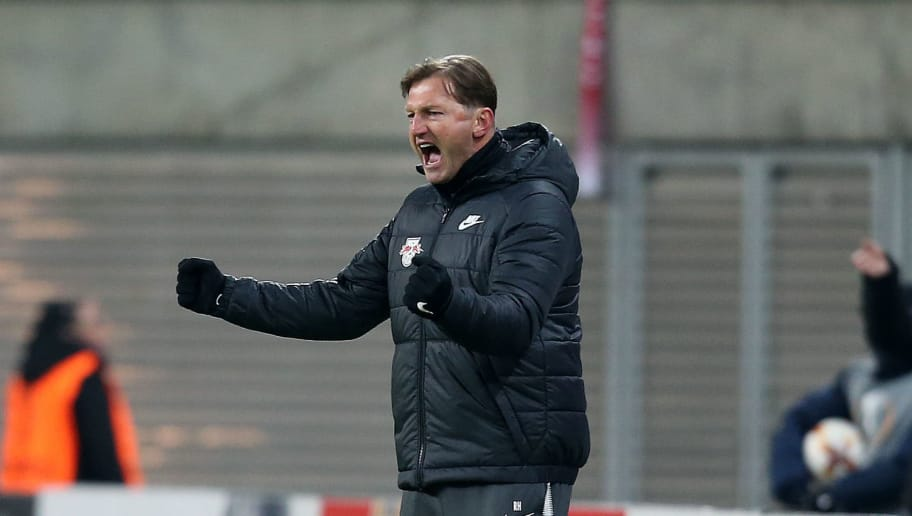 LEIPZIG, GERMANY - FEBRUARY 22: Head coach Ralph Hasenhuettl of Leipzig celebrates after the UEFA Europa League Round of 32 match between RB Leipzig and Napoli at the Red Bull Arena on February 22, 2018 in Leipzig, Germany. (Photo by Ronny Hartmann/Bongarts/Getty Images)
