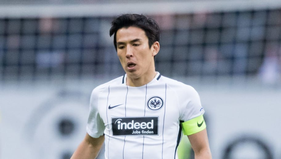 FRANKFURT AM MAIN, GERMANY - FEBRUARY 10: Makoto Hasebe of Frankfurt controls the ball during the Bundesliga match between Eintracht Frankfurt and 1. FC Koeln at Commerzbank-Arena on February 10, 2018 in Frankfurt am Main, Germany. (Photo by Simon Hofmann/Bongarts/Getty Images)