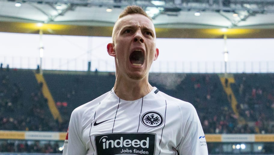 FRANKFURT AM MAIN, GERMANY - FEBRUARY 10: Marius Wolf of Frankfurt celebrates his team's fourth goal during the Bundesliga match between Eintracht Frankfurt and 1. FC Koeln at Commerzbank-Arena on February 10, 2018 in Frankfurt am Main, Germany. (Photo by Simon Hofmann/Bongarts/Getty Images)