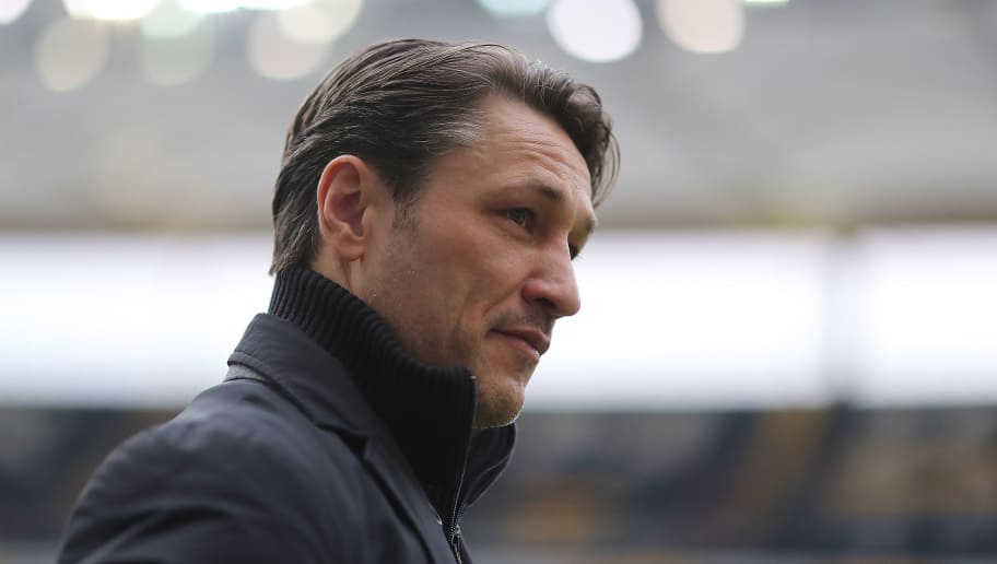 FRANKFURT AM MAIN, GERMANY - FEBRUARY 10: Coach Niko Kovac of Frankfurt looks on before the Bundesliga match between Eintracht Frankfurt and 1. FC Koeln at Commerzbank-Arena on February 10, 2018 in Frankfurt am Main, Germany. (Photo by Simon Hofmann/Bongarts/Getty Images)