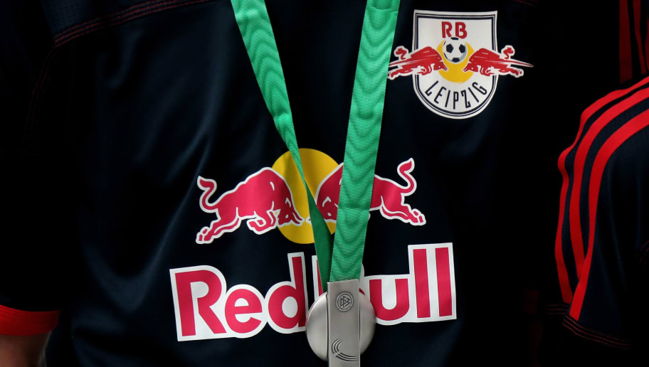 BERGKAMEN, GERMANY - MARCH 25:  A DFB silver medal in front of the Red Bull sponsor logo is pictured after the final match of the DFB C-Juniors Futsal Cup on March 25, 2012 in Bergkamen, Germany.  (Photo by Friedemann Vogel/Bongarts/Getty Images)