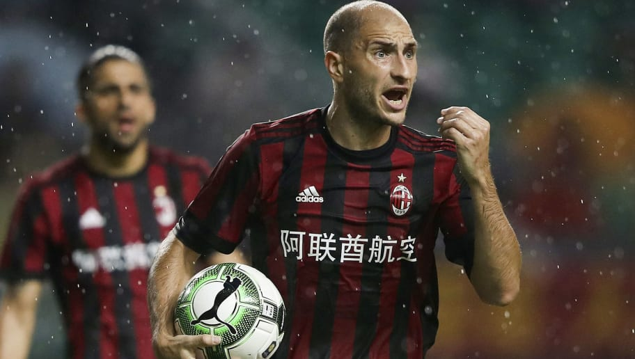 GUANGZHOU, CHINA - JULY 18:  Gabriel Paletta of AC Milan reacts during the 2017 International Champions Cup football match between AC milan and Borussia Dortmund at University Town Sports Centre Stadium on July 18, 2017 in Guangzhou, China.  (Photo by Lintao Zhang/Getty Images)