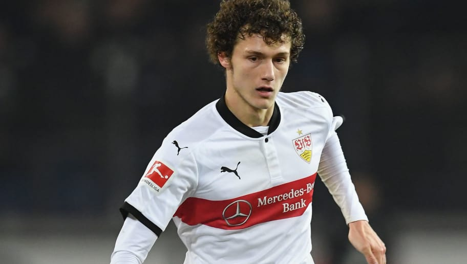 HANOVER, GERMANY - NOVEMBER 24:  Benjamin Pavard of Stuttagrt in action during the Bundesliga match between Hannover 96 and VfB Stuttgart at HDI-Arena on November 24, 2017 in Hanover, Germany.  (Photo by Stuart Franklin/Bongarts/Getty Images)