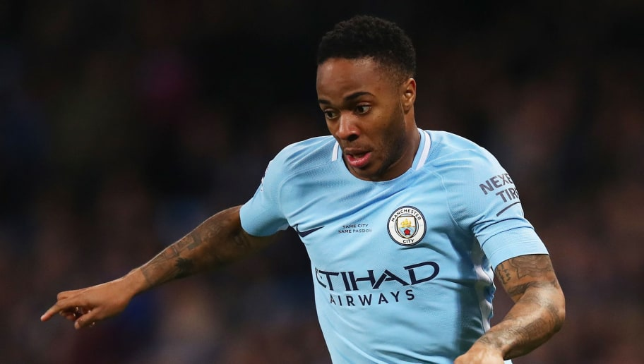 MANCHESTER, ENGLAND - FEBRUARY 10:  Raheem Sterling of Manchester City in action during the Premier League match between Manchester City and Leicester City at Etihad Stadium on February 10, 2018 in Manchester, England.  (Photo by Clive Brunskill/Getty Images)
