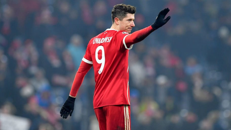Bayern Munich's Polish forward Robert Lewandowski celebrates after his team won the UEFA Champions League round of sixteen first leg football match Bayern Munich vs Besiktas Istanbul on February 20, 2018 in Munich, southern Germany. / AFP PHOTO / John MACDOUGALL        (Photo credit should read JOHN MACDOUGALL/AFP/Getty Images)