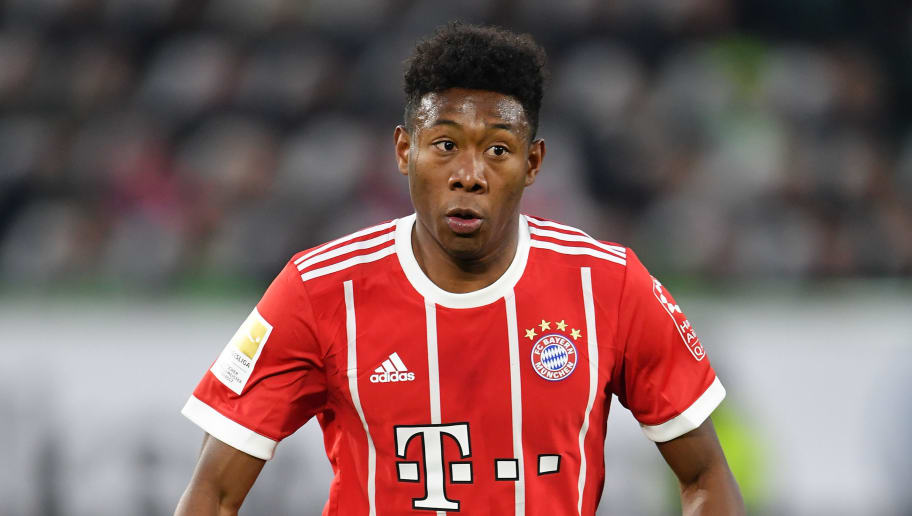 WOLFSBURG, GERMANY - FEBRUARY 17:  David Alaba of Muenchen in action during the Bundesliga match between VfL Wolfsburg and FC Bayern Muenchen at Volkswagen Arena on February 17, 2018 in Wolfsburg, Germany.  (Photo by Stuart Franklin/Bongarts/Getty Images)