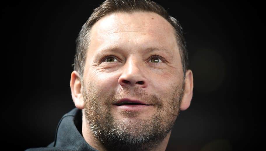 BERLIN, GERMANY - FEBRUARY 16: (EDITORS NOTE; This image was processed using digital filters.)  Pal Dardai, head coach of Berlin looks on  during the Bundesliga match between Hertha BSC and 1. FSV Mainz 05 at Olympiastadion on February 16, 2018 in Berlin, Germany.  (Photo by Stuart Franklin/Bongarts/Getty Images )