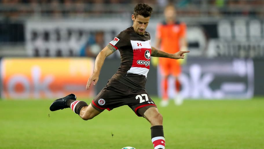 HAMBURG, GERMANY - AUGUST 07:  Jan Philipp Kalla of St. Pauli runs with the ball during the Second Bundesliga match between FC St. Pauli and SG Dynamo Dresden at Millerntor Stadium on August 7, 2017 in Hamburg, Germany.  (Photo by Martin Rose/Bongarts/Getty Images)