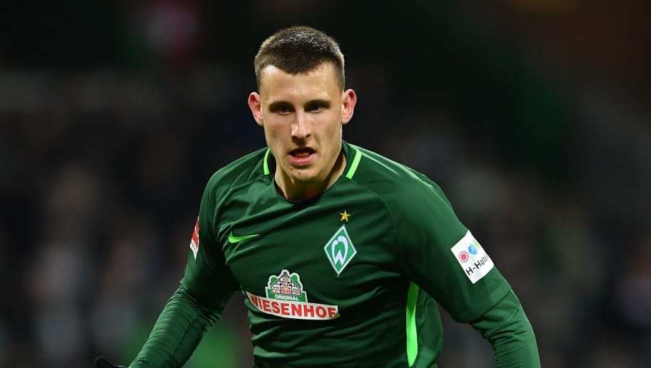 BREMEN, GERMANY - FEBRUARY 11:  Maximilian Eggestein of Bremen in action during the Bundesliga match between SV Werder Bremen and VfL Wolfsburg at Weserstadion on February 11, 2018 in Bremen, Germany.  (Photo by Stuart Franklin/Bongarts/Getty Images)