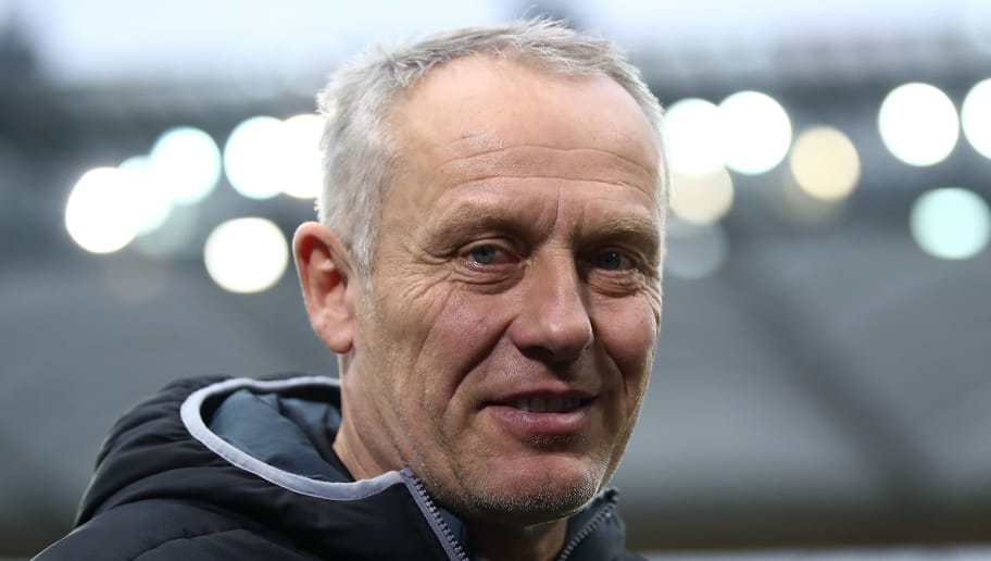 FRANKFURT AM MAIN, GERMANY - JANUARY 13: Coach Christian Streich of Freiburg before the Bundesliga match between Eintracht Frankfurt and Sport-Club Freiburg at Commerzbank-Arena on January 13, 2018 in Frankfurt am Main, Germany. (Photo by Maja Hitij/Bongarts/Getty Images)