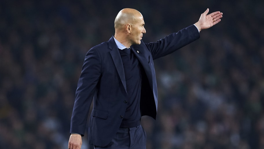 SEVILLE, SPAIN - FEBRUARY 18:  Head coach Zinedine Zidane of Real Madrid reacts during the La Liga match between Real Betis and Real Madrid at Benito Villamrin stadium on February 18, 2018 in Seville, Spain.  (Photo by Aitor Alcalde/Getty Images)