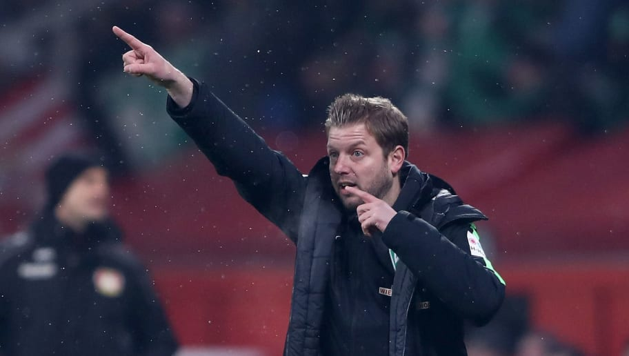LEVERKUSEN, GERMANY - FEBRUARY 06:  Florian Kohfeldt, head coach of Bremen gestures during the DFB Cup quarter final match between Bayer Leverkusen and Werder Bremen at BayArena on February 6, 2018 in Leverkusen, Germany.  (Photo by Alex Grimm/Bongarts/Getty Images)