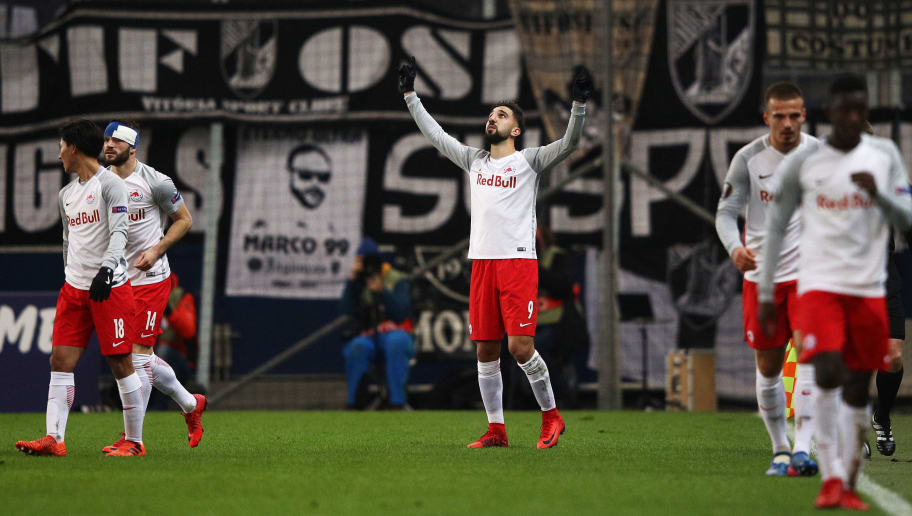 SALZBURG, AUSTRIA - NOVEMBER 23:  Munas Dabbur of Red Bull Salzburg celebrates after scoring the first goal during the UEFA Europa League group I match between FC Salzburg and Vitoria Guimaraes at Red Bull Arena on November 23, 2017 in Salzburg, Austria.  (Photo by Adam Pretty/Getty Images)