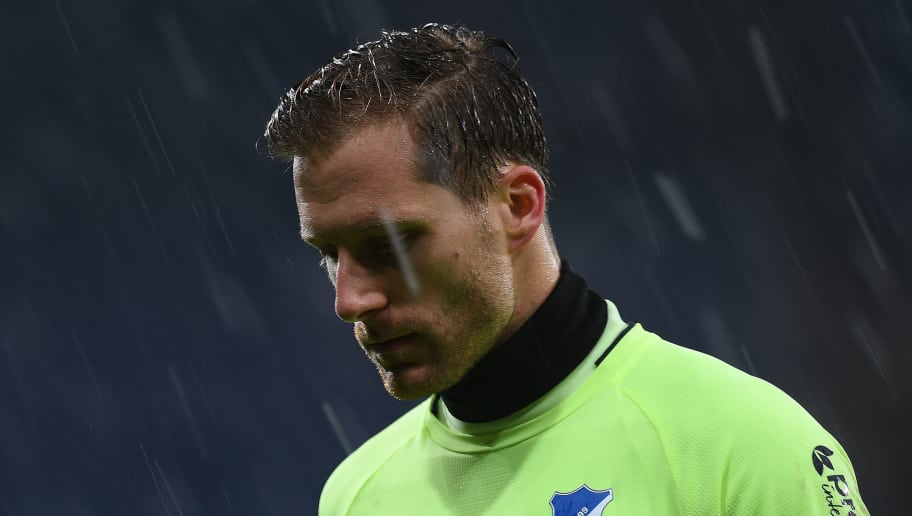 SINSHEIM, GERMANY - JANUARY 20:  Goalkeeper Oliver Baumann of Hoffenheim leaves the pitch dejected after the Bundesliga match between TSG 1899 Hoffenheim and Bayer 04 Leverkusen at Wirsol Rhein-Neckar-Arena on January 20, 2018 in Sinsheim, Germany. (Photo by Matthias Hangst/Bongarts/Getty Images)