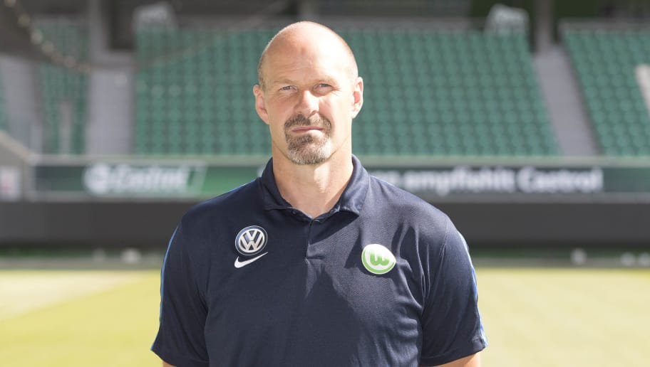 WOLFSBURG, GERMANY - SEPTEMBER 14: Goalkeeper Coach Andreas Hilfiker poses during the official team presentation of VfL Wolfsburg at Volkswagen Arena on September 14, 2016 in Wolfsburg, Germany. (Photo by Joachim Sielski/Bongarts/Getty Images)