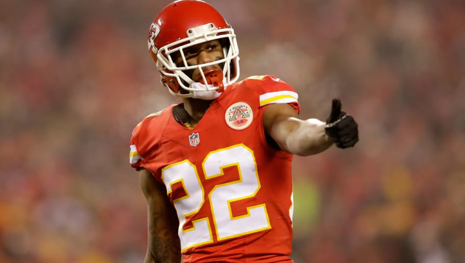 KANSAS CITY, MP - JANUARY 15: Cornerback Marcus Peters #22 of the Kansas City Chiefs checks his aligment with an official prior turnover a play against the Pittsburgh Steelers during the first quarter of the game in the AFC Divisional Playoff game at Arrowhead Stadium on January 15, 2017 in Kansas City, Missouri.  (Photo by Jamie Squire/Getty Images)
