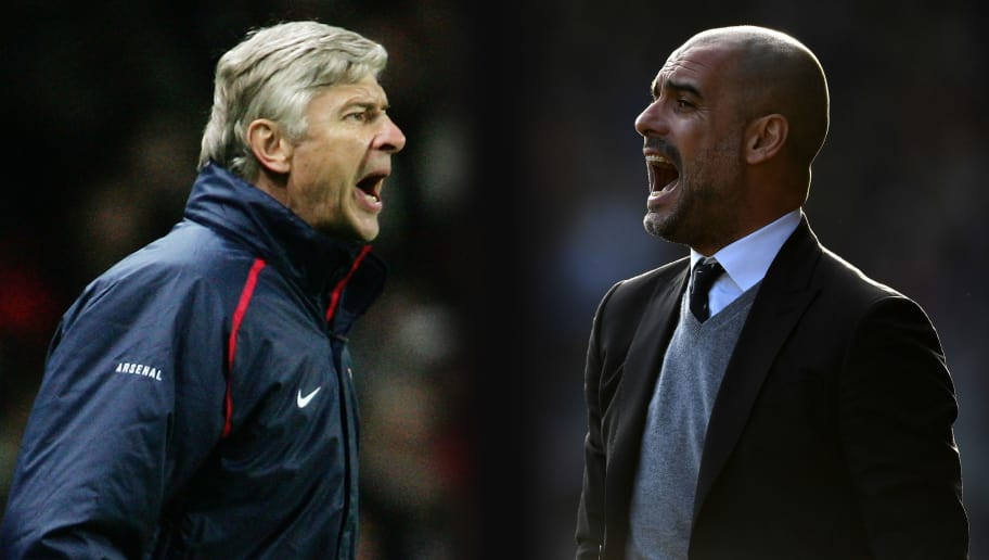 FILE PHOTO (EDITORS NOTE: GRADIENT ADDED - COMPOSITE OF TWO IMAGES - Image numbers (L) 72336772 and 642590956) In this composite image a comparision has been made between Arsene Wenger, Manager of Arsenal and Josep Guardiola, Manager of Manchester City. Arsenal and  Manchester City meet in a Premier League match on April 2, 2017 at the Emirates Stadium in London. ***LEFT IMAGE*** LONDON - NOVEMBER 01: Arsene Wenger the Arsenal Manager shouts instructions from the touchline during the UEFA Champions League Group G match between Arsenal and CSKA Moscow at The Emirates Stadium on November 1, 2006 in London, England. (Photo by Phil Cole/Getty Images) ***RIGHT IMAGE*** HUDDERSFIELD, ENGLAND - FEBRUARY 18: Josep Guardiola, Manager of Manchester City gives his team instructions during The Emirates FA Cup Fifth Round match between Huddersfield Town and Manchester City at John Smith's Stadium on February 18, 2017 in Huddersfield, England. (Photo by Gareth Copley/Getty Images)