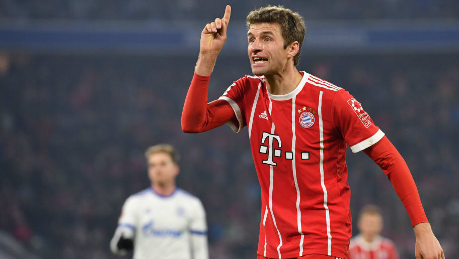 MUNICH, GERMANY - FEBRUARY 10: Thomas Mueller of Bayern Muenchen gestures during the Bundesliga match between FC Bayern Muenchen and FC Schalke 04 at Allianz Arena on February 10, 2018 in Munich, Germany. (Photo by Sebastian Widmann/Bongarts/Getty Images)