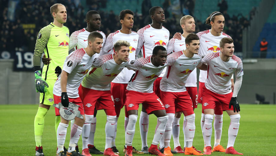 LEIPZIG, GERMANY - FEBRUARY 22: Leipzig team pose from top left to down right: goalkeeper Peter Gulacsi, Dayot Upamecano, Bernardo, Ibrahima Konate, Konrad Laimer, Yussuf Poulsen, Diego Demme, Kevin Kampl, Bruma, Marcel Sabitzer and Timo Werner prior to the UEFA Europa League Round of 32 match between RB Leipzig and Napoli at the Red Bull Arena on February 22, 2018 in Leipzig, Germany. (Photo by Ronny Hartmann/Bongarts/Getty Images)